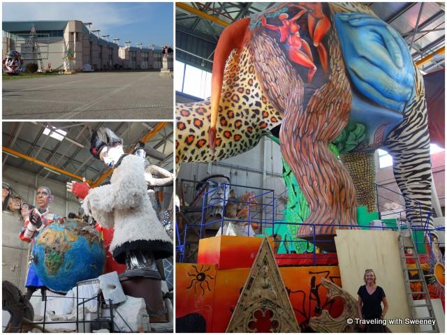 Hangars housing the enormous floats of La Citadella di Carnevale in Viareggio