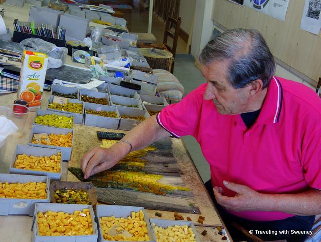 Mosaic master Piero Giannoni at work in his studio in Pietrasanta