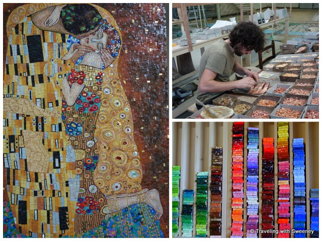 """Left: Piero Giannoni's mosaic of Gustav Klimt's """"The Kiss""""; Right: Mosaic artist at work in the studio and colorful glass pieces in Pietrasanta, Italy"""