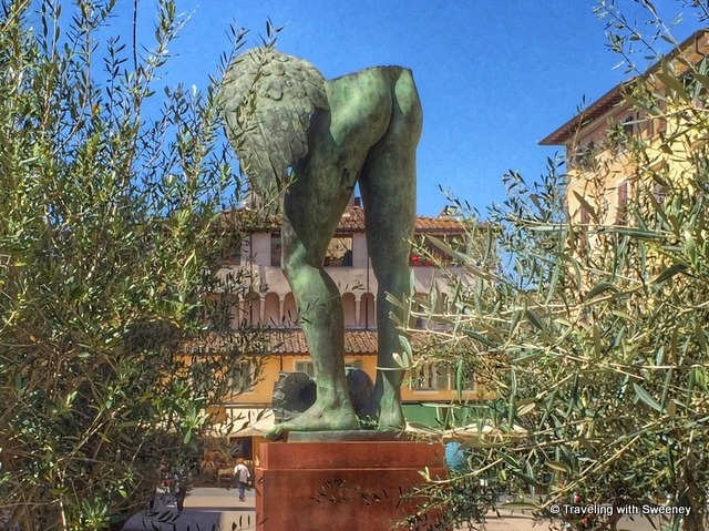 One perspective of a prominent bronze sculpture by Igor Mitoraj on Piazza Duomo, --- Art of Pietrasanta