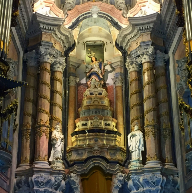 Ornate altar of church in Porto