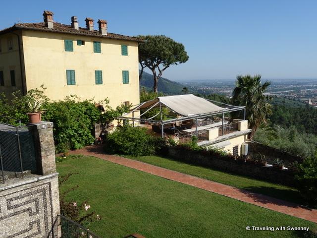 Vista to the sea at Villa Sant'Andrea in the Versilia hills above Pietrasanta and Viareggio