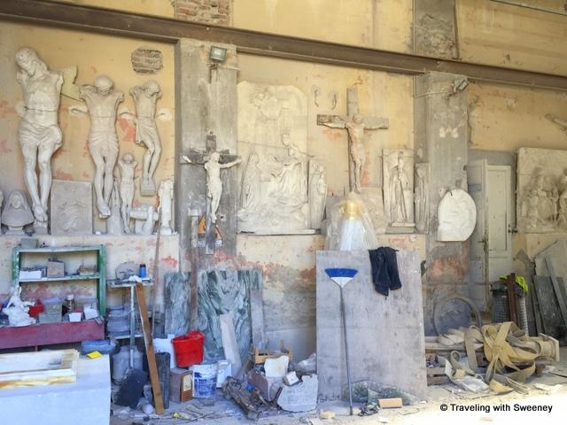 Religious marble works in progress in Pietrasanta, Italy