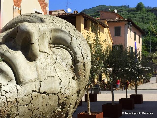 One of several sculptures by Igor Mitoraj in Piazza Duomo, Pietrasanta, Italy