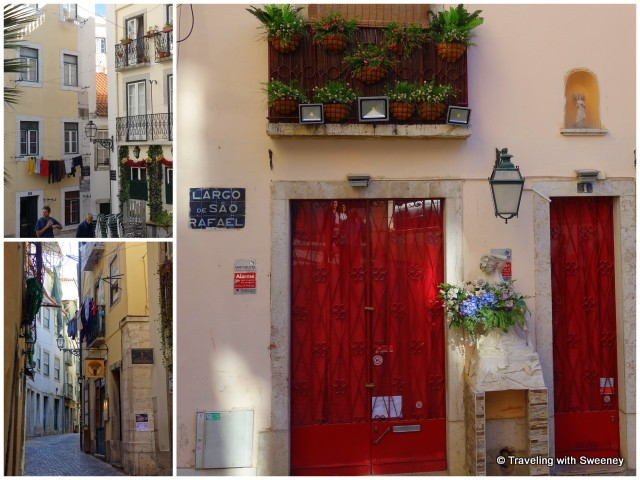 Narrow lanes and colorful scenes of the Alfama historic district, Lisbon