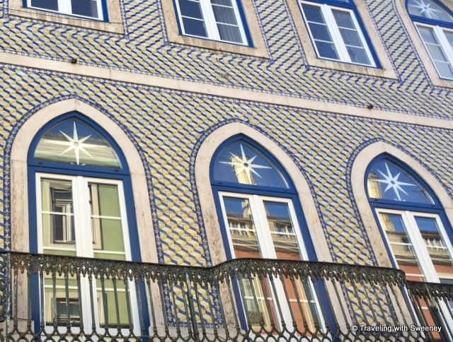 Intricate blue and white tile design, a gorgeous example of Lisbon's distinctive style