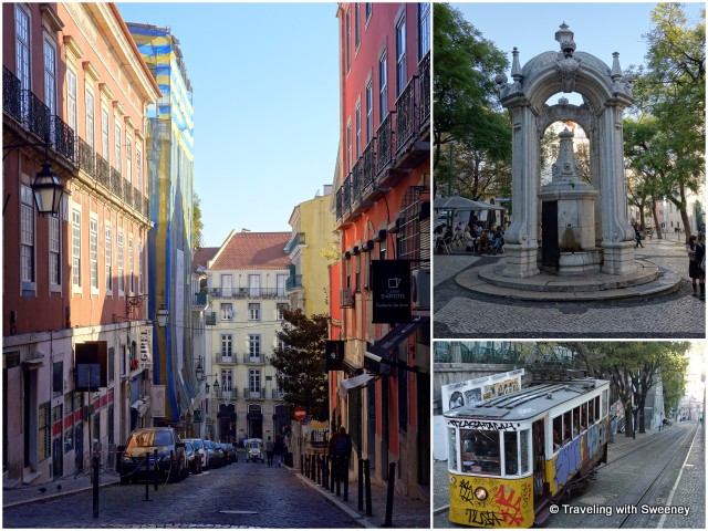 From left: A steep street leading to Bairro Alto; monument on Largo do Carmo; an iconic Lisbon tram