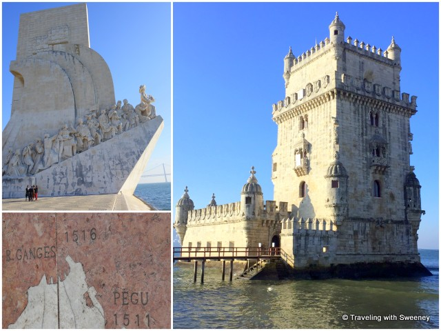 Left: Padrão dos Descobrimentos (Monument to the Discoveries) and pavement map; Right: Torre de Belém
