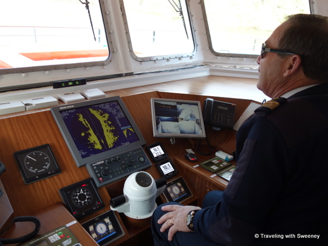 In the wheelhouse of the Viking Hemming with Captain Afonso Ribeiro at the helm