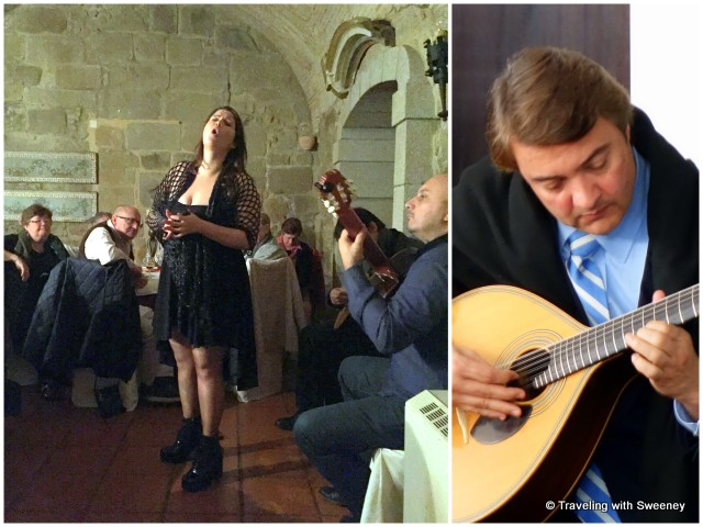 Left: Fado singer performing at the 11th-century Alpendurada Monastery near Bitetos, Right: Fado performance in Coimbra