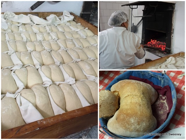 A Favaios specialty, four-cornered bread -- from loaves to the wood-fired oven and ready to eat