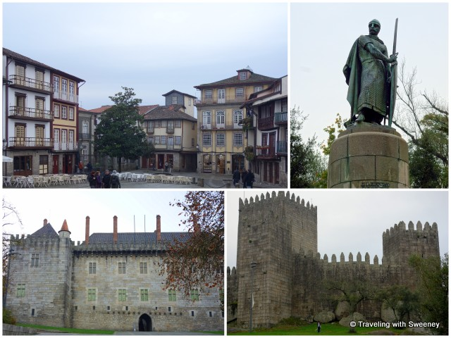 Guimarães medieval quarter, statue of Portugal's first king, and Guimarães Castle