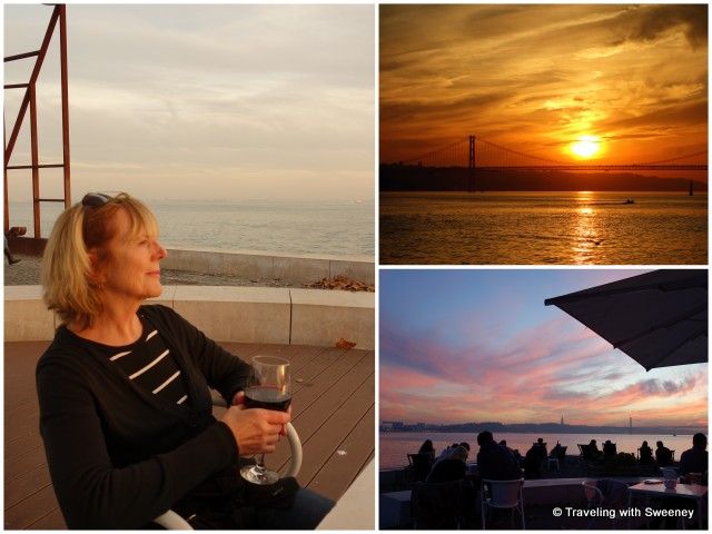 Taking a moment to enjoy a glass of wine and the progression of the sunset along the Lisbon waterfront