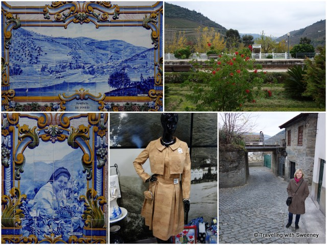 Murals of azulejos tiles at the railway station in Pinhao; strolling through the village, we found unique items made from cork, such as the dress (bottom center)