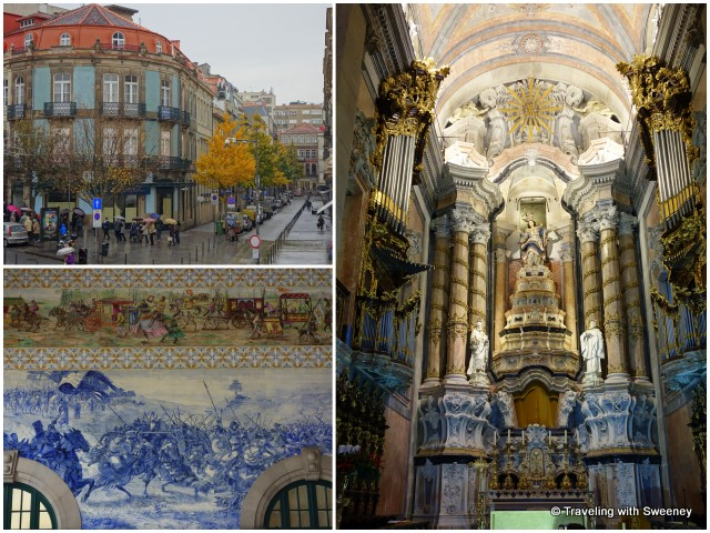 From top left: Porto street scene; ornate altar in Clerigos Church; murals in the São Bento Railway Station depicting the history of Portugal