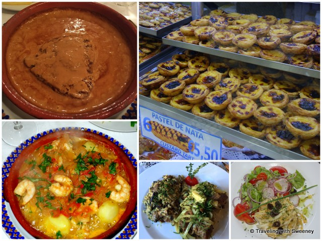 Left, top and bottom: Sirloin steak in coffee sauce, seafood stew; Top right: Pastel de Nata in a bakery window; Bottom center and right: grilled Iberian Pork served with mushroom risotto, local cod and salad