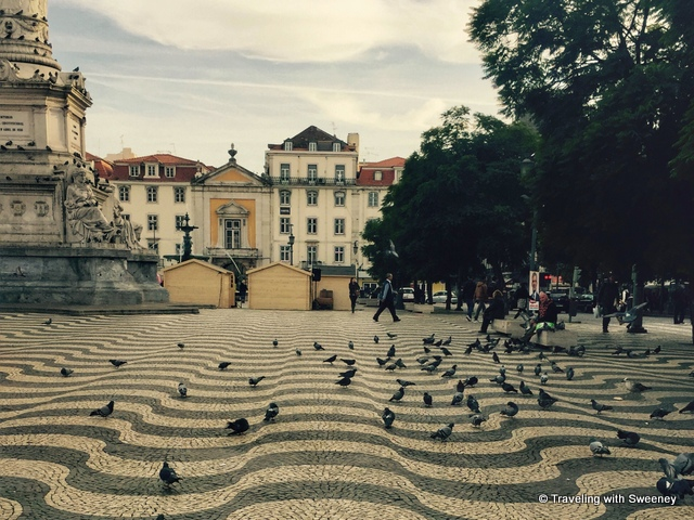 The wavy pattern pavement of Rossio Square