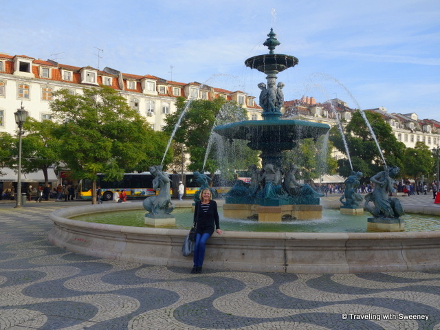 Fountain on Rossio Square in Lisbon