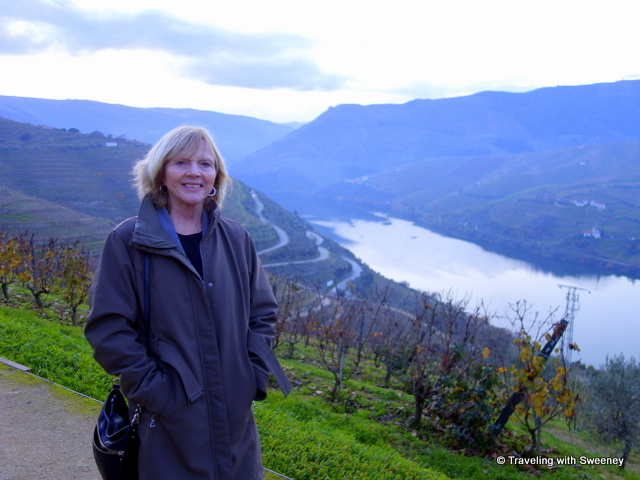 Among the vineyards on a hilltop overlooking the winding Douro River
