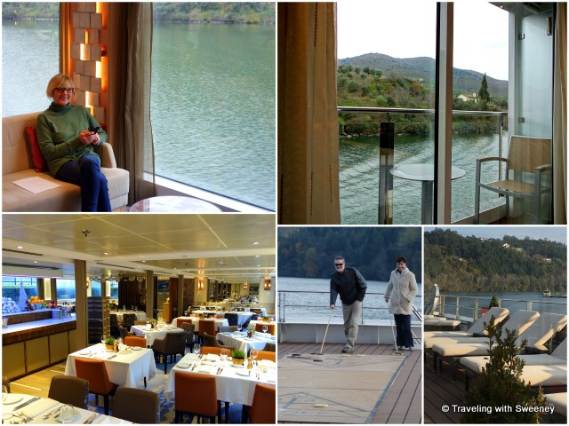 From top left: Relaxing in the lounge with a view; our private stateroom veranda; top deck lounge chairs and shuffleboard; dining room on the Viking Hemming