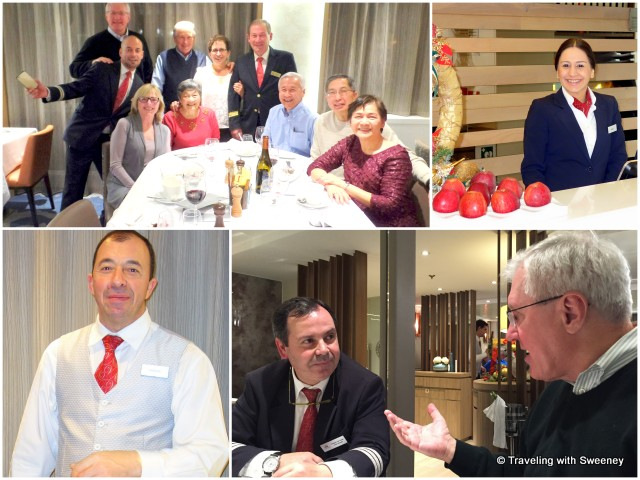From top left: Maître d' Claudio Pires (left) and Captain Ribeiro join our group of fellow passengers; Marta at Reception; Mr. TWS and Hotel Manager, Joaquim de Sousa; Antonio, our waiter
