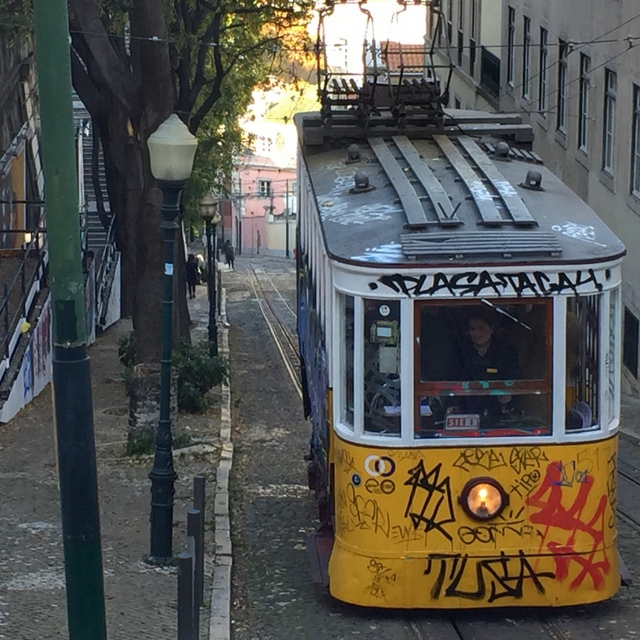 A tram climbs a steep street to the Bairro Alto district of Lisbon - from our Portugal Instagram photos