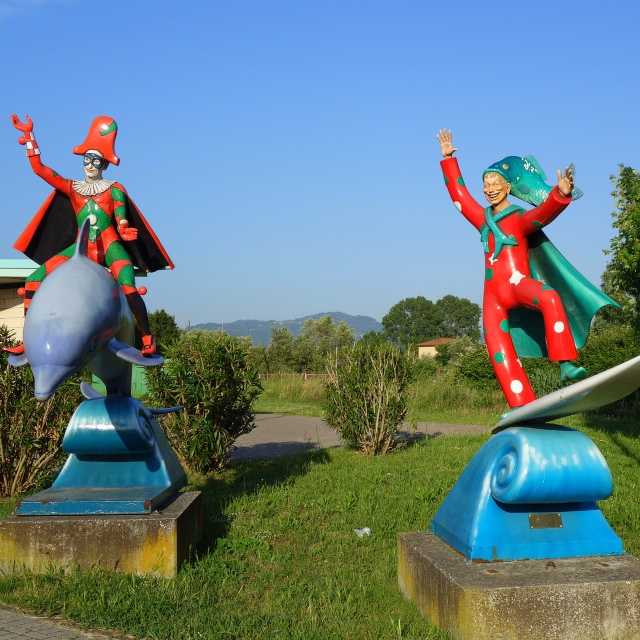 Statues at entrance of La Citadella di Carnevale in Viareggio, Italy --- Tuscany on Instagram