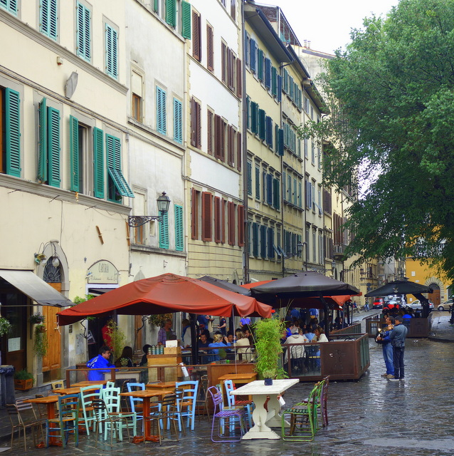 Rainy afternoon on Piazza di Santo Spirito in Florence, Italy