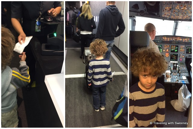 Boarding his first flight, Eli hand the agent his ticket, walks down the jetway, and gets to meet the pilot