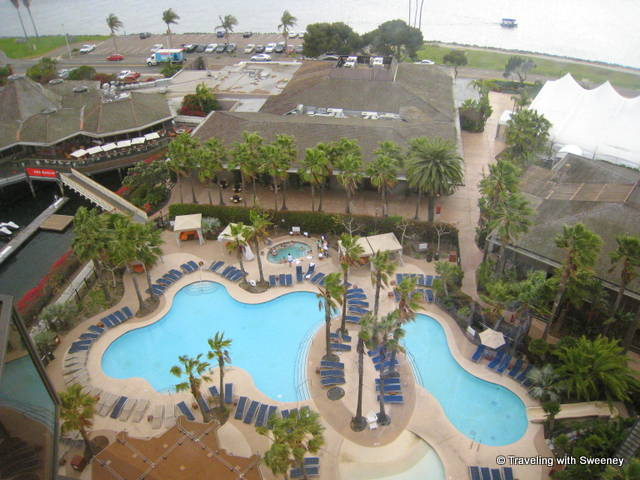 View of the Hyatt Regency Mission Bay's pool area from our 14th floor room