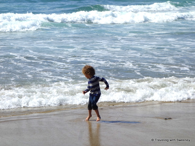 Playing with the waves on the beach in San Diego