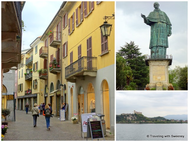 Arona street scene, San Carlo statue, and view of Rocca Borromeo di Angera from the waterfront
