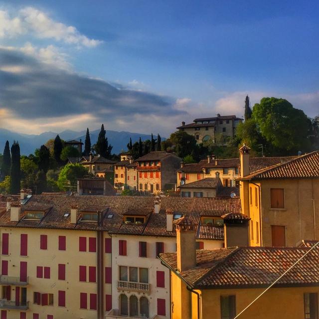 View from Castello di Asolo, the castle of Queen Caterina Cornaro in Asolo in the Veneto region of Italy