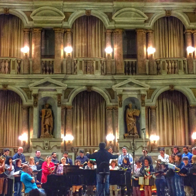 Chorale group rehearsal at Bibiena Theater in Mantua, Italy