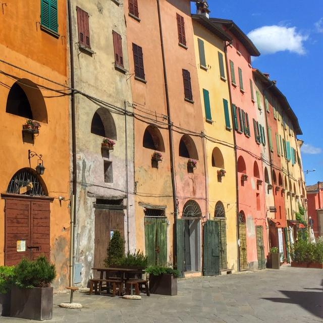 The colorful facades of Brisighella along the ancient city walls