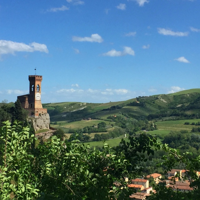 View of the imposing clock tower of Brisighella from La Rocca in the Emilia-Romagna region of Italy