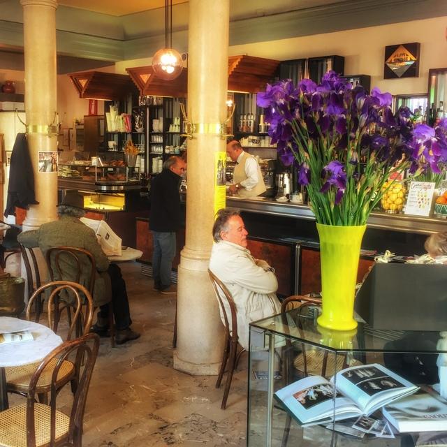 Our delightful morning ritual -- cappuccino and brioches at Caffe Centrale in Asolo, Italy