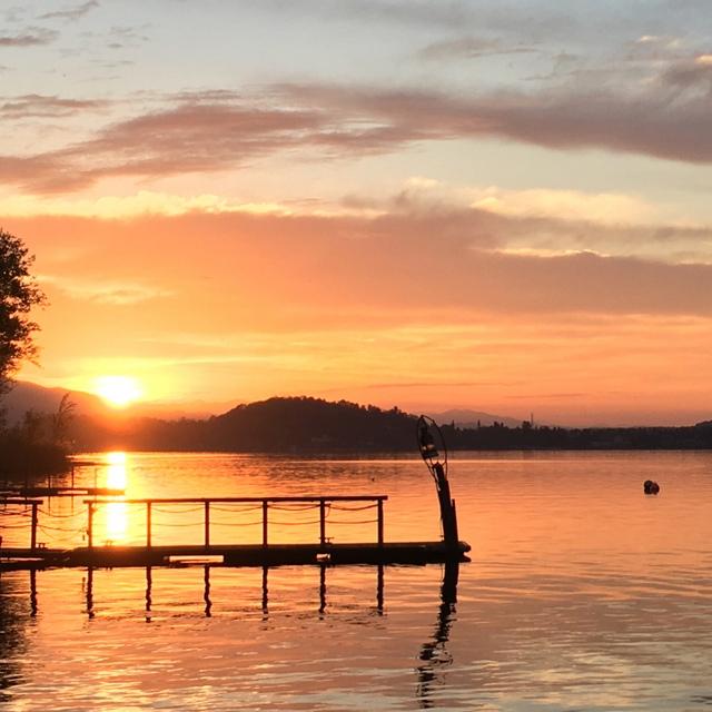 Sunrise on Lake Maggiore taken from our rental villa, Casa del Lago,