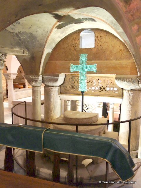 Stained walls of the crypt of St. Mark's Basilica -- evidence of previous flooding