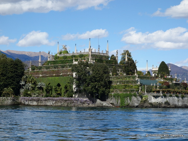 Isola Bella seen from a boat on Lake Maggiore during our tour of the gardens of Lake Maggiore
