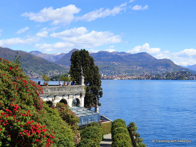View of Lake Maggiore and the mountains from the gardens of Isola Bella