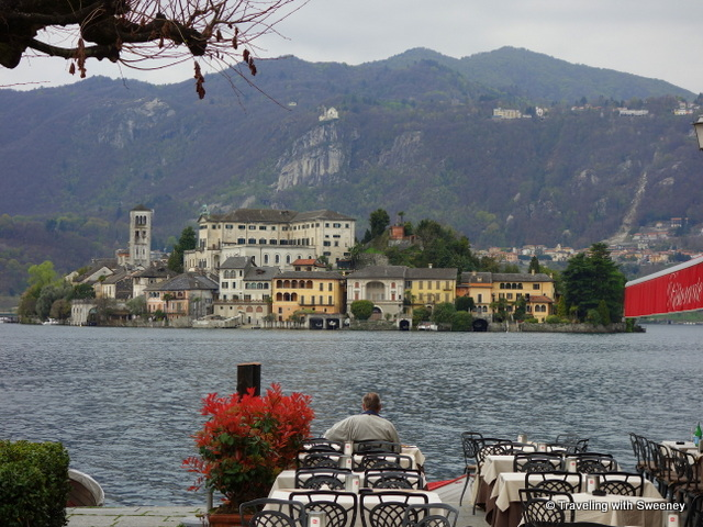 Lake Orta and Isola San Giulio seen from Piazza Motta in Orta San Giulio
