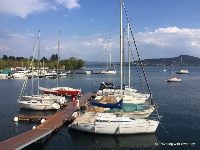 Boats in the harbor at Lesa, Italy on Lake Maggiore