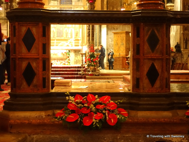 Panels are opened for St. Mark's Day to enable worshippers to see the altar in St. Mark's Basilica in Venice