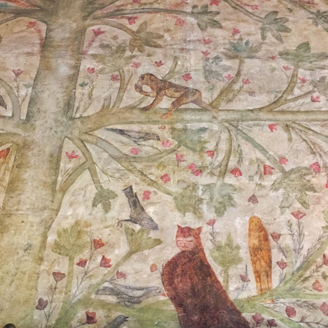 Gorgeous frescoes on the walls of the Tower Suite at Palazzo Castiglioni in Mantua, Italy