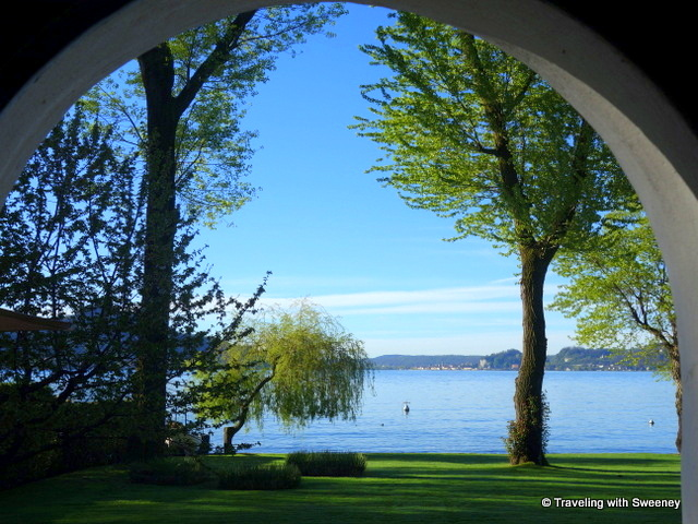 Looking at the lake from the archway of Casa del Lago during our stay on Lake Maggiore