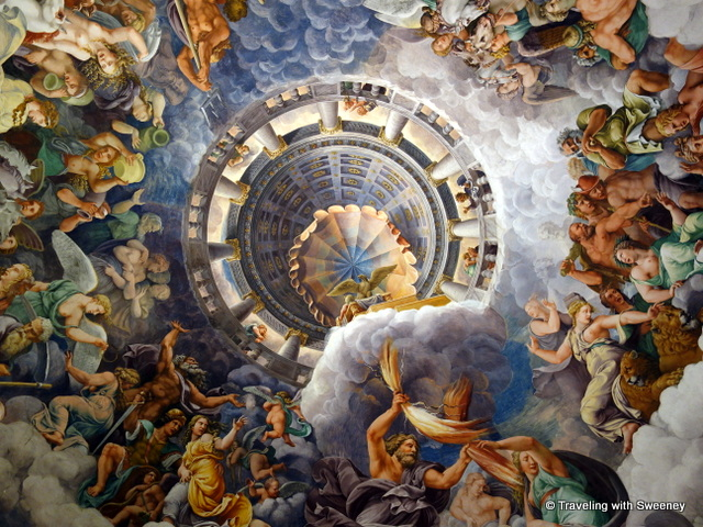 Ceiling fresco by Giulio Romano in the Chamber of the Giants in Palazzo Te, Manuta, Italy