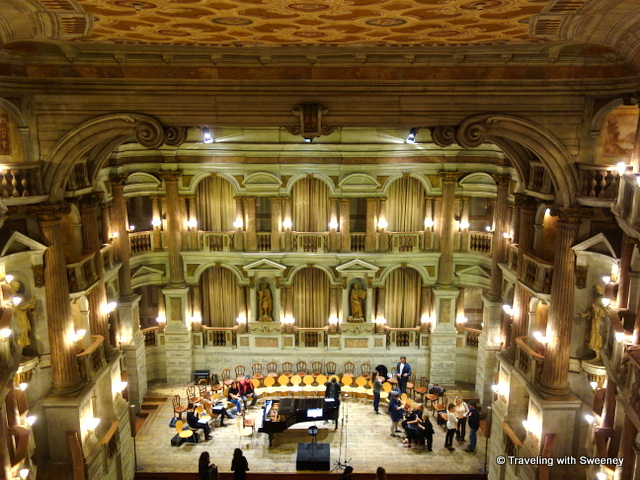 Preparing for a rehearsal at Teatro Bibiena in Mantual, Italy