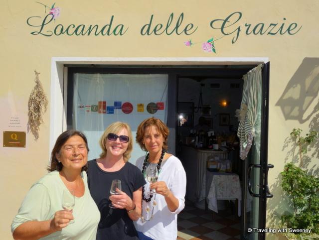 Sampling traditional food and wine of Mantua at Locanda delle Grazie with Daniela Aldigheri and Luisa Castiglioni