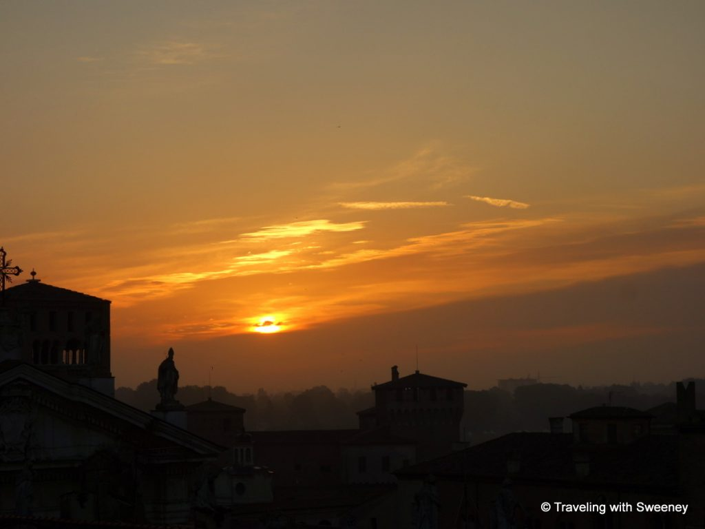 Sunrise over Mantua from the rooftop garden of Palazzo Castiglioni